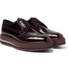 Prada - Polished-Leather Wingtip Brogues