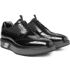 Prada - Mesh-Panelled Spazzolato Leather Wingtip Brogues