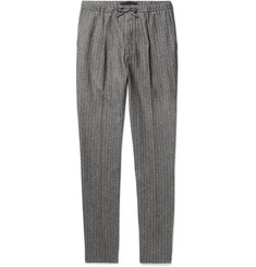 Incotex - Slim-Fit Herringbone Wool and Cotton-Blend Drawstring Trousers
