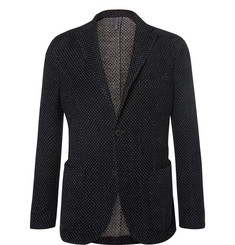 Incotex Blue Slim-Fit Polka-Dot Wool-Blend Jersey Blazer