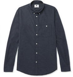 NN07 Derek Slim-Fit Button-Down Collar Cotton-Flannel Shirt