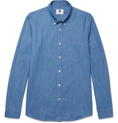 NN07 - Falk Slim-Fit Button-Down Collar Stretch-Denim Shirt