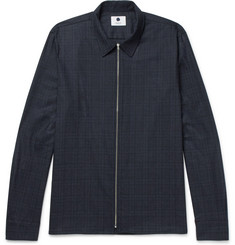 NN07 Checked Wool-Blend Zip-Up Overshirt