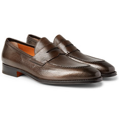Santoni Full-Grain Leather Penny Loafers