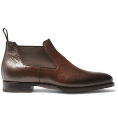 Santoni Burnished Grained-Leather Chelsea Boots