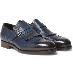 Santoni Burnished Full-Grain Leather Loafers