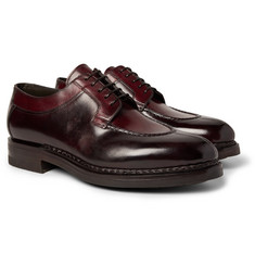 Santoni - Split-Toe Burnished-Leather Derby Shoes