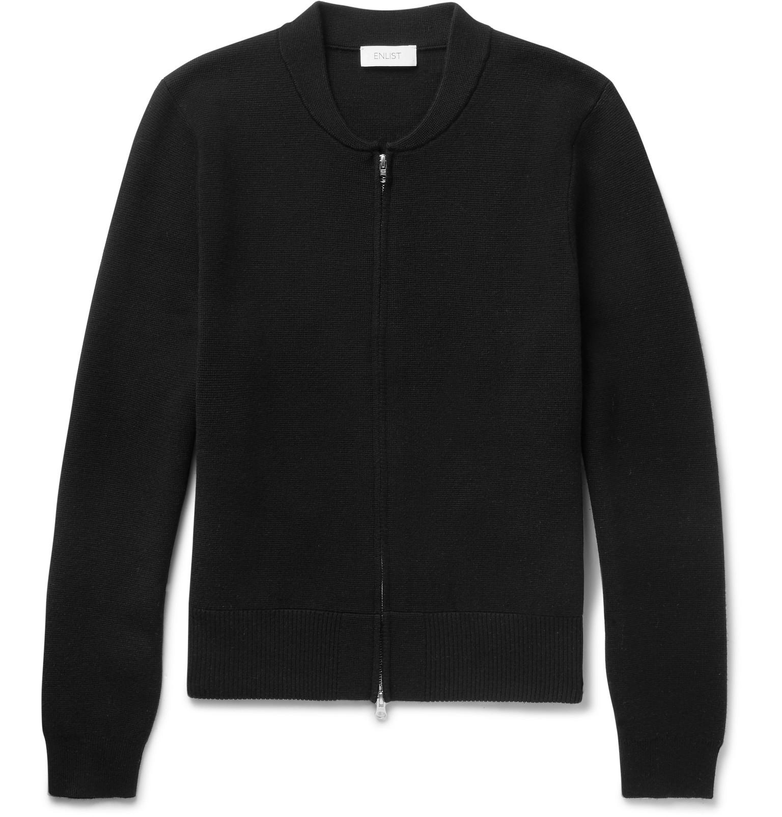 Enlist - Milano Slim-Fit Merino Wool Zip-Up Cardigan