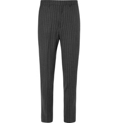 Enlist - Pinstriped Brushed Stretch Wool-Blend Trousers