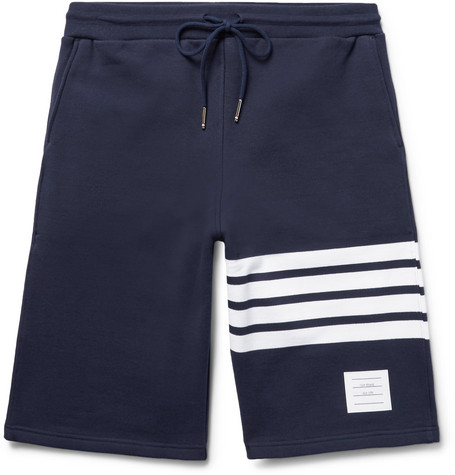 Thom Browne Cottons STRIPED LOOPBACK COTTON-JERSEY SHORTS