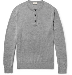 Club Monaco Mélange Merino Wool, Silk and Cashmere-Blend Henley Sweater