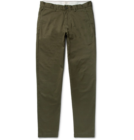 CLUB MONACO Connor Slim-fit Stretch-cotton Twill Chinos - Gray green mcZLlBlHa