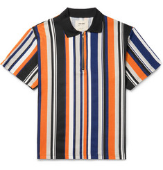 Noon Goons Striped Cotton-Jersey Half-Zip Polo Shirt