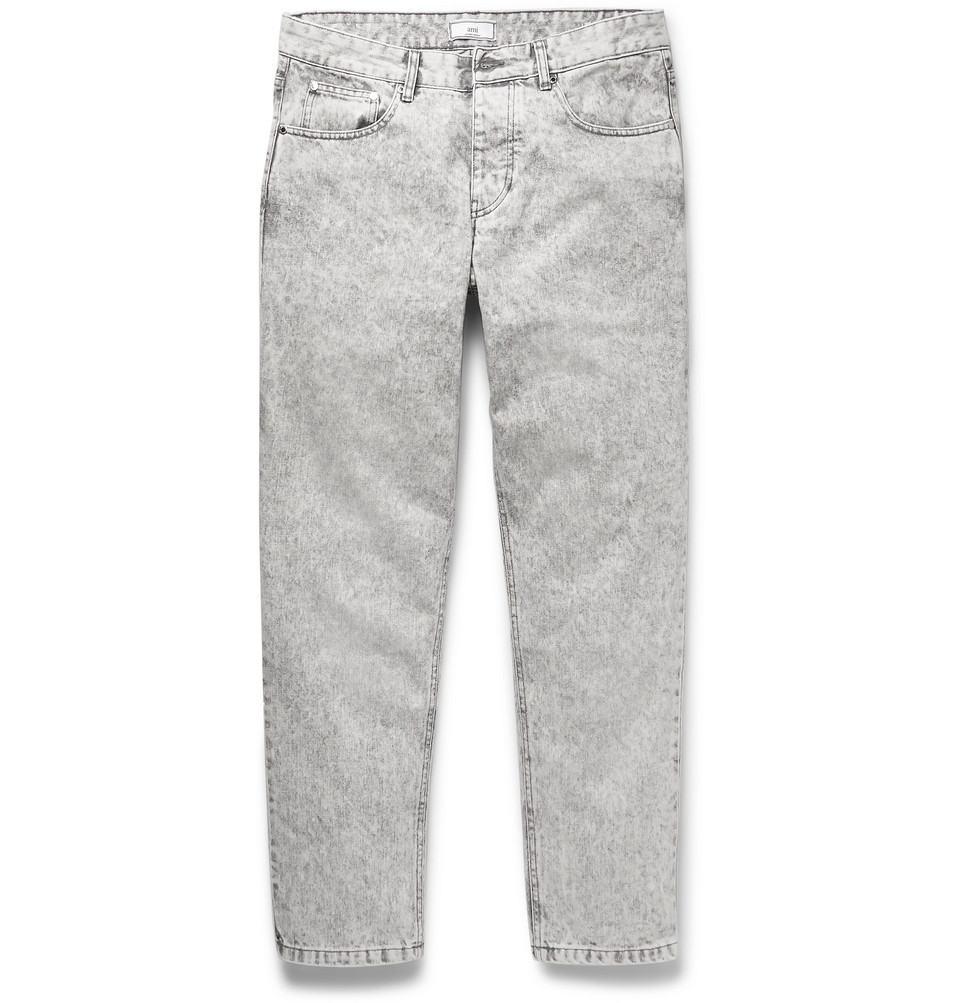 Slim-fit Tapered Cropped Bleached Denim Jeans - Gray