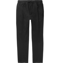 AMI Tapered Brushed Wool-Blend Drawstring Trousers