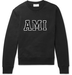 AMI Chenille-Appliquéd Loopback Cotton-Jersey Sweatshirt