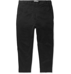 AMI Tapered Cropped Cotton-Twill Trousers