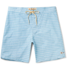 Mollusk Long-Length Striped Cotton-Blend Swim Shorts