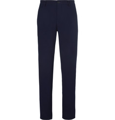 Giorgio Armani Blue Virgin Wool-Blend Seersucker Trousers