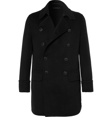 Cashmere-blend Double-breasted Coat - Black