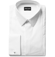 Giorgio Armani - White Bib-Front Double-Cuff Cotton Tuxedo Shirt