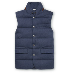 Ralph Lauren Purple Label Lloyd Suede-Trimmed Quilted Herringbone Wool Down Gilet