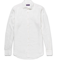 Ralph Lauren Purple Label Aston Cutaway-Collar Slub Linen Shirt