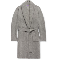 Ralph Lauren Purple Label Shawl-Collar Ribbed Cashmere Belted Cardigan