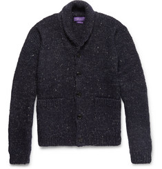 Ralph Lauren Purple Label - Shawl-Collar Mélange Wool, Alpaca and Linen-Blend Cardigan
