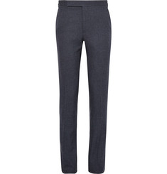 Ralph Lauren Purple Label Blue Gregory Slim-Fit Puppytooth Wool, Silk and Cashmere-Blend Trousers