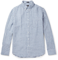 J.Crew Slim-Fit Button-Down Collar Gingham Slub Linen Shirt