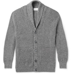 Kingsman Shawl-Collar Mélange Wool and Cotton-Blend Cardigan
