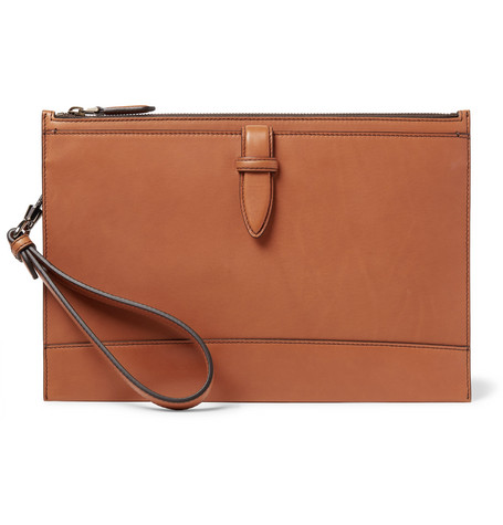 Ermenegildo Zegna Leather Pouch In Tan