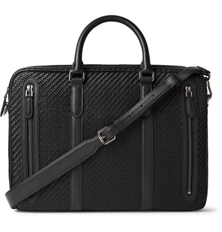 Ermenegildo Zegna Pelle Tessuta Leather Briefcase In Black