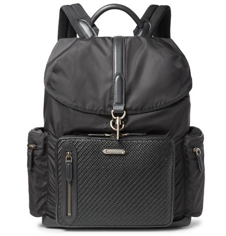 Ermenegildo Zegna Shell And Pelle Tesutta Leather Backpack In Black