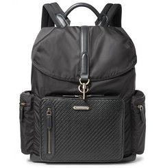 Ermenegildo Zegna Pelle Tesutta Leather and Shell Backpack