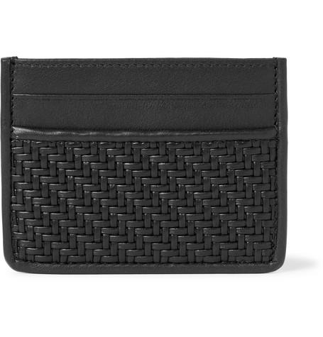 Ermenegildo Zegna Pelle Tessuta Leather Cardholder - Black - One Siz
