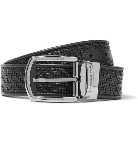 Ermenegildo Zegna 3.5Cm Black Pelle Tessuta Leather Belt - Black