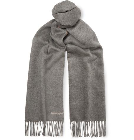 Ermenegildo Zegna Reversible Fringed Silk Scarf In Gray