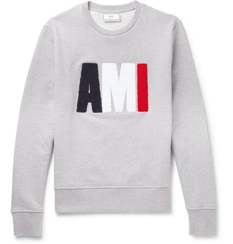 AMI – Terry-detailed Loopback Cotton-jersey Sweatshirt – Gray
