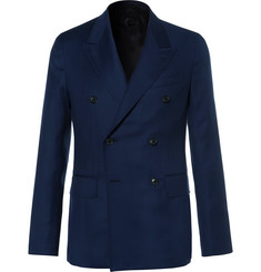 Caruso - Blue Butterfly Slim-Fit Double-Breasted Wool-Hopsack Blazer