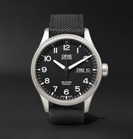 Big Crown Propilot Day-date 45mm Stainless Steel And Canvas Watch - Black