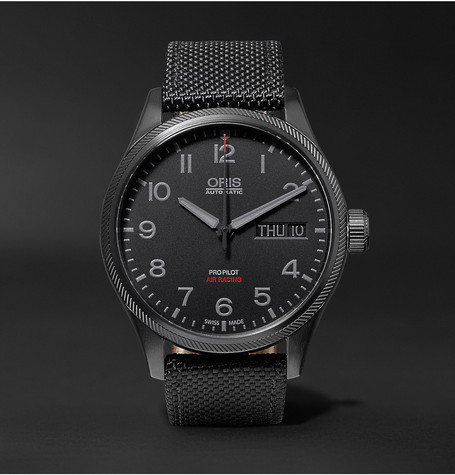 Air Racing Edition V 45mm Stainless Steel And Leather Watch - Black