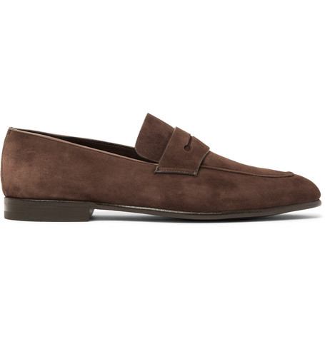 Asola Leather-trimmed Suede Penny Loafers - Army greenErmenegildo Zegna T7Egt