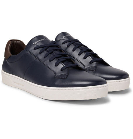 Vittorio Vulcanised-leather Sneakers - Navy