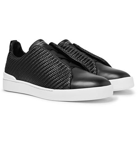 Triple Stitch Pelle Tessuta Leather Slip-on Sneakers - Black