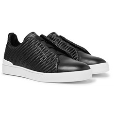 Ermenegildo Zegna - Triple Stitch Pelle Tessuta Leather Slip-On Sneakers