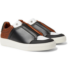 Ermenegildo Zegna Pelle Tessuta Leather Slip-On Sneakers