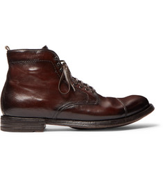 Officine Creative Anatomia Cap-Toe Distressed Leather Boots