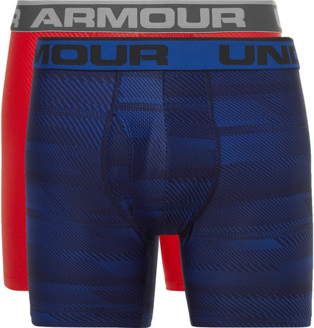 Under Armour Boxerjock Two-pack Heatgear Boxer Briefs In Blue